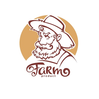 Vector portrait of old farmer in hat and farm lettering composition for your logo