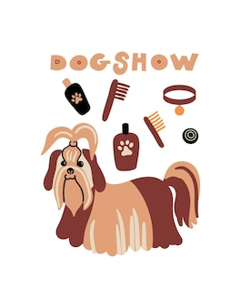 Vector portrait of shih tzu  cartoon illustration with dog and lettering dog show