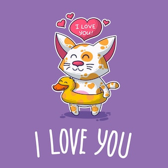 Vector postcard about cat in love