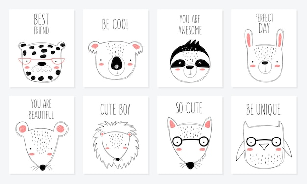 Vector postcard collection with cute doodle animals and motivation lettering phrase. perfect for poster, birthday, baby book, children room, anniversary, baby shower
