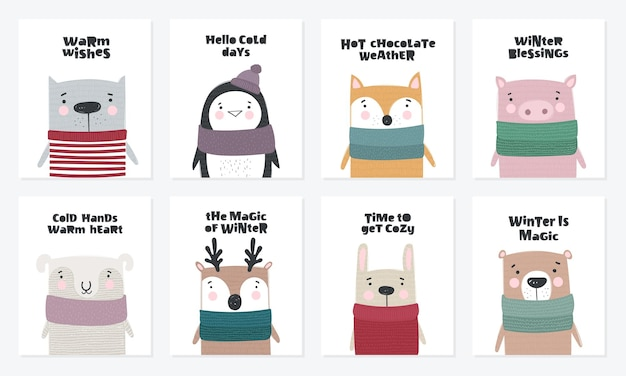 Vector postcard collection with cute winter animals in cozy clothes doodle illustration