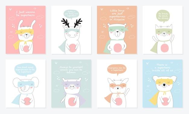 슈퍼 히어로 동물과 멋진 슬로건이 있는 벡터 엽서 컬렉션