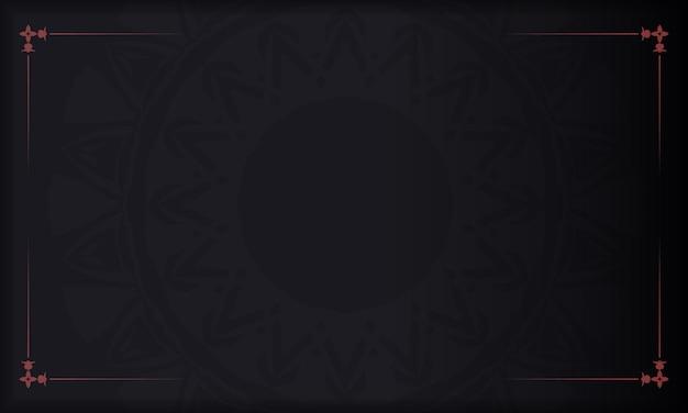 Векторный дизайн открытки с абстрактными узорами. черный баннер с греческим красным орнаментом для вашего логотипа.