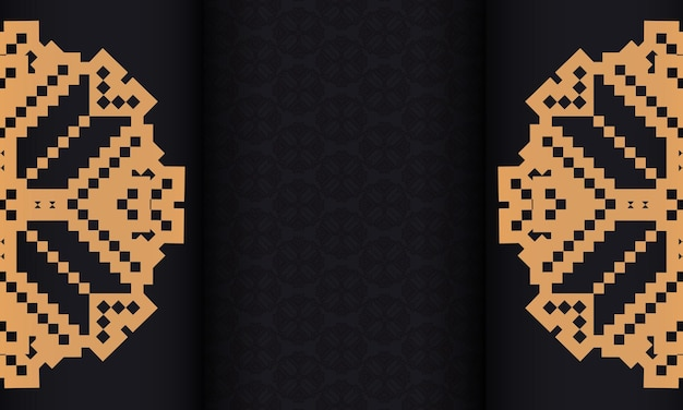 Vector postcard design with luxurious patterns. black banner with slovenian ornaments for your logo.