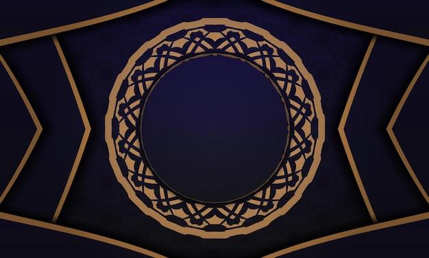 ヴィンテージパターンのベクトルはがきデザイン。あなたのロゴのための豪華な装飾が施された青いバナー。
