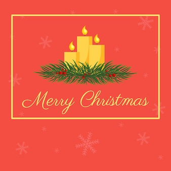 モミの枝にクリスマスキャンドルとベクトルはがき