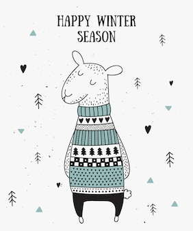 Vector postcard with cute winter sheep in cozy sweater
