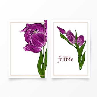 Vector postcard with dark pink tulip flowers floral.