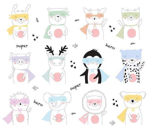 멋진 슬로건을 가진 선 그리기 슈퍼히어로 동물이 있는 벡터 엽서. 낙서 그림입니다. 우정의 날, 발렌타인, 기념일, 생일, 어린이 또는 십대 파티