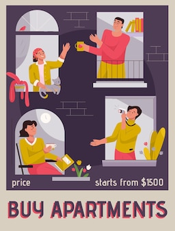 Vector poster of buy apartments concept
