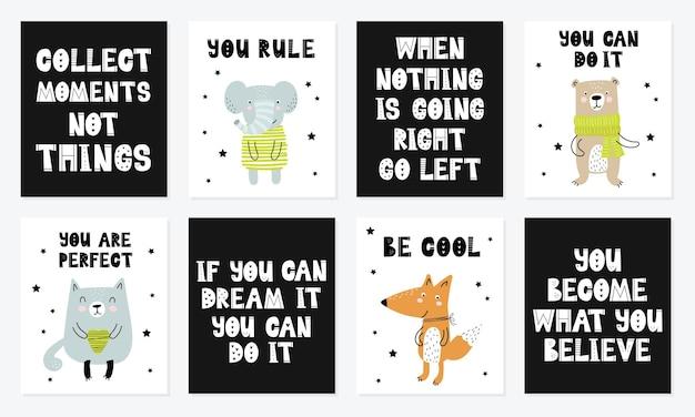 Векторная коллекция плакатов с мультяшным милым животным и забавным лозунгом в скандинавском стиле для детей
