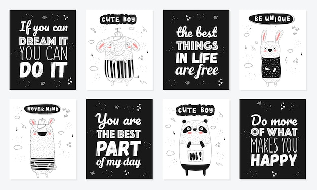 Vector poster collection with cartoon funny animals and hipster slogan hand drawn graphic zoo