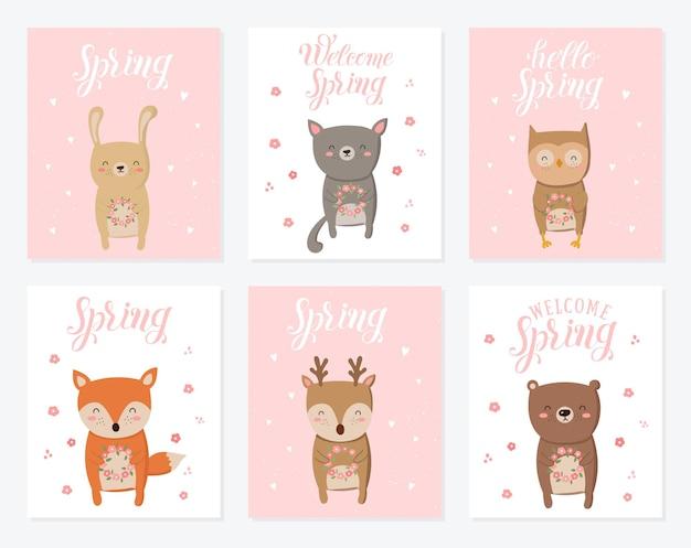 귀여운 동물과 봄 슬로건이 있는 벡터 포스터 컬렉션