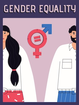 Vector poster of gender equality concept