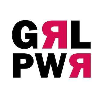 Векторный плакат girl power. подходит для печати наклеек, нашивок, булавок или футболок.