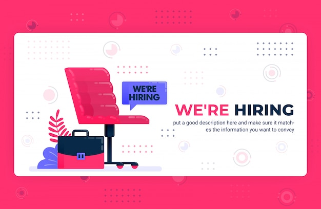 Vector poster illustration of we're hiring ads.