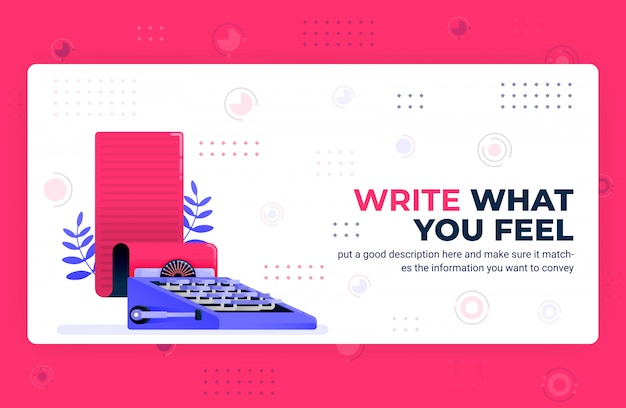 Vector poster illustration of write what you feel.