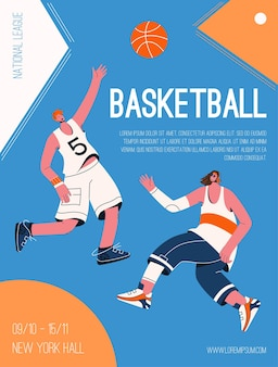 농구 내셔널 리그 개념의 벡터 포스터입니다. 공을 가지고 노는 유니폼을 입은 플레이어가 토너먼트에서 경쟁합니다. 스포츠 경쟁의 초대 디자인.