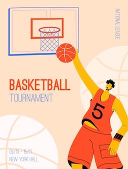 내셔널 리그 개념에서 농구 토너먼트의 벡터 포스터. 농구 후프에 공을 던지는 선수. 스포츠 경쟁의 초대 디자인.