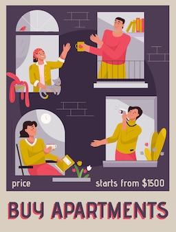 Векторный плакат концепции покупки квартир