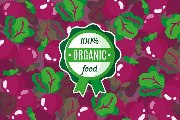 붉은 사탕무 배경과 둥근 녹색 유기농 식품 라벨이 있는 벡터 포스터 또는 배너