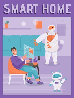 Vector poster of smart home concept robot assistant helping