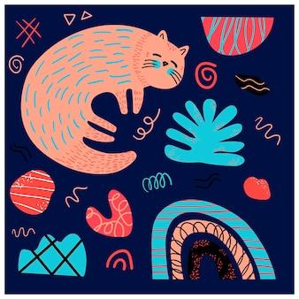 스칸디나비아 스타일의 빨간색 잠자는 고양이와 그래픽 요소가 있는 벡터 포스터