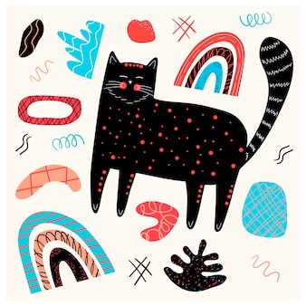 Vector poster with a black cute cat and graphic elements in the scandinavian style