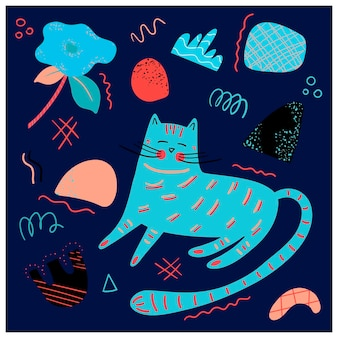 Vector poster with a blue cute cat and graphic elements in the scandinavian style