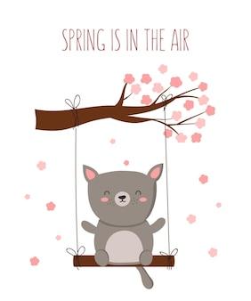 만화 귀여운 동물과 봄 슬로건 벡터 포스터