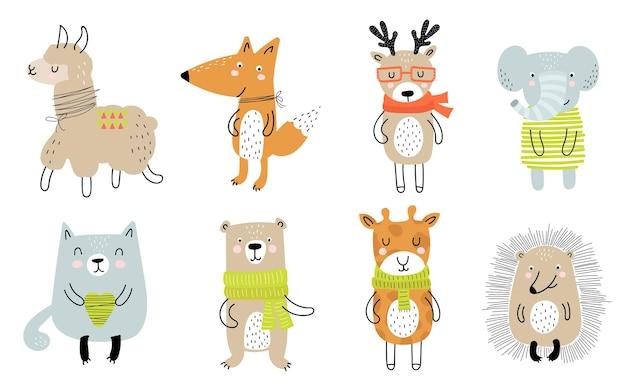 Векторный плакат с мультяшным милым животным для детей и забавным лозунгом в скандинавском стиле. ручной обращается графический зоопарк. идеально подходит для детского душа, открытки, этикетки, брошюры, флаера, страницы, дизайна баннера.