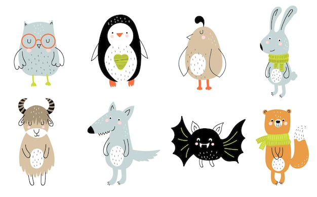 Vector poster with cartoon cute animal for kids and funny slogan in scandinavian style
