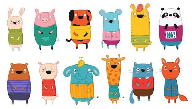 만화 재미있는 동물과 힙스터 슬로건이 있는 벡터 포스터. 손으로 그린 그래픽 동물원. 베이비 샤워, 엽서, 라벨, 브로셔, 전단지, 페이지, 배너 디자인, 셔츠 인쇄에 적합합니다.