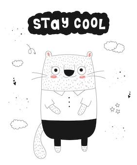 만화 재미있는 동물과 힙스터 슬로건이 있는 벡터 포스터 손으로 그린 그래픽 동물원
