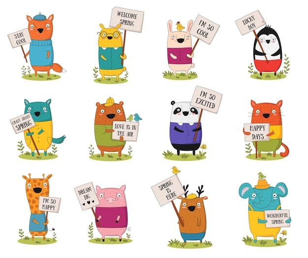 봄 슬로건과 함께 투명도와 만화 재미있는 동물 벡터 포스터. 베이비 샤워, 엽서, 라벨, 브로셔, 전단지, 페이지, 배너 디자인, 셔츠 인쇄에 적합합니다.