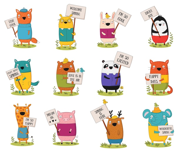 Vector poster with cartoon funny animal with a transparency with the spring slogan. perfect for baby shower, postcard, label, brochure, flyer, page, banner design, shirt print.