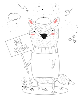 Vector poster with cartoon funny animal with a transparency with the spring slogan