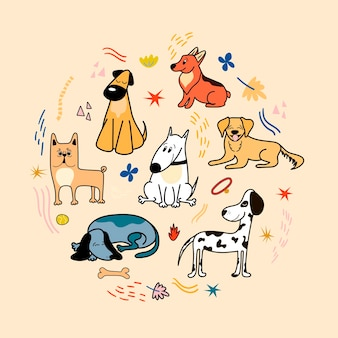 Vector poster with cute dogs of different breeds corgi bulldog dalmatian dachshund bull terrier