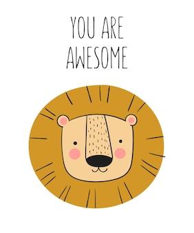 배경에 사랑스러운 물건이 있는 귀여운 손으로 그린 동물과 슬로건 배너가 있는 벡터 포스터