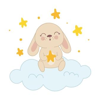 Векторный плакат с милым кроликом с сумкой и сердечками весенний лозунг