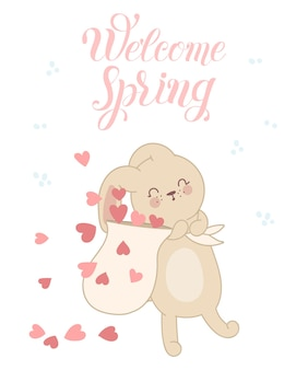 Vector poster with cute rabbit with bag and hearts spring slogan