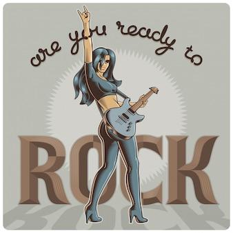 ギターを抱えて女性ミュージシャンとベクトルポスター