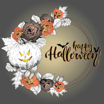 Vector poster with floral wreath. happy halloween.