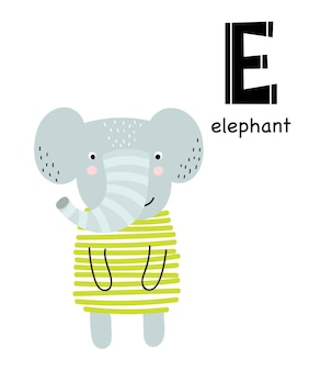 Vector poster with letter of the alphabet with cartoon animal for kids in scandinavian style