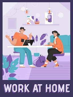 Vector poster of work at home concept