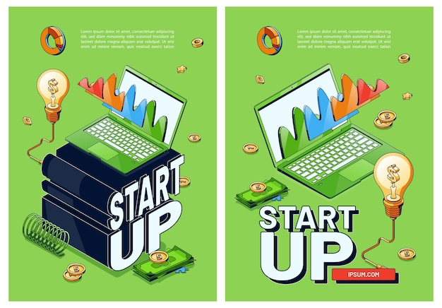 Vector posters of start up new business