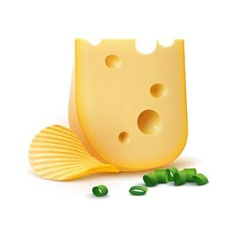 ベクトルポテトリップルクリスピーチップチーズと白玉ねぎ