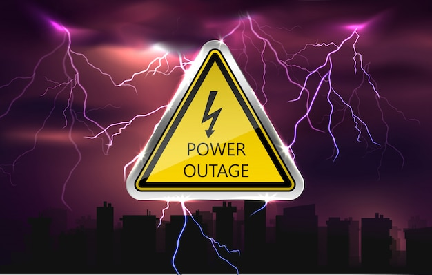 Vector power outage background with warning sign