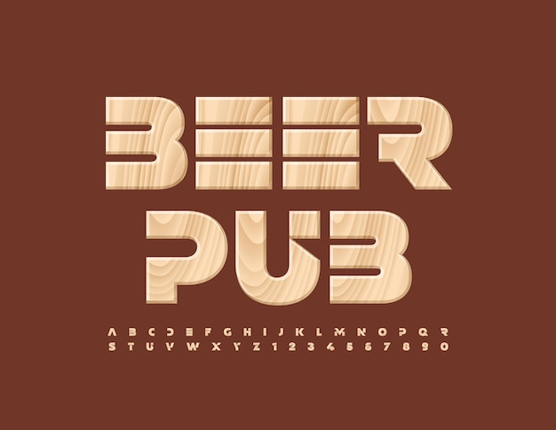 Vector premium banner beer pub tree textured alphabet letters and numbers set wooden creative font