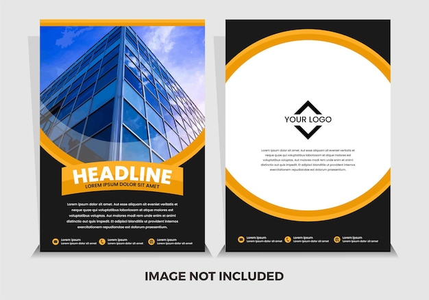Vector premium black and yellow modern annual report template